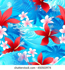 Tropical red hibiscus flowers with surfing wave seamless pattern .
