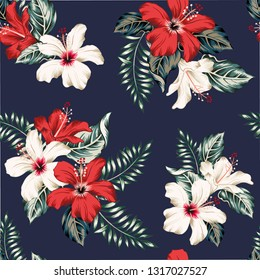Tropical red, white hibiscus flowers and leaves bouquets, navy background. Vector seamless pattern. Jungle floral illustration. Exotic plants. Summer beach design. Paradise nature