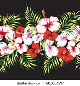 Tropical red, white hibiscus flowers and green leaves horizontal ribbon. Seamless vector trendy botanical illustration. Fabric pattern on the black background