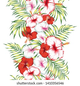Tropical red, white hibiscus flowers and green leaves vertical ribbon. Seamless vector trendy botanical illustration. Fabric pattern on the white background
