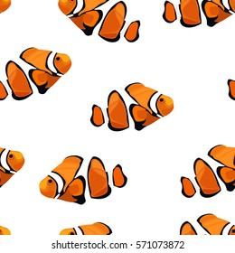 Tropical reef clown fish colorful vector seamless pattern