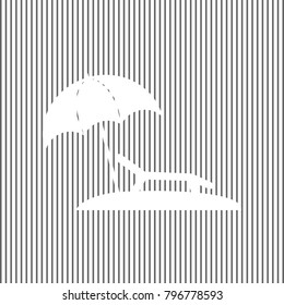 Tropical resort beach. Sunbed Chair sign. Vector. White icon on grayish striped background. Optical illusion.