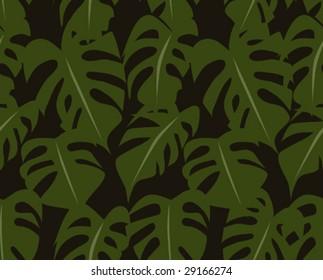 Tropical Retro Seamless Foliage Pattern