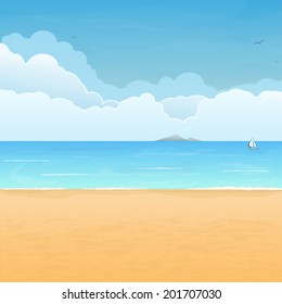 Tropical sand beach, boat in sea, mountain island on horizon and clouds on background