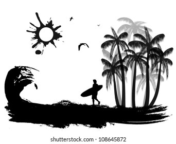 Tropical scene on grunge coast background, vector illustration