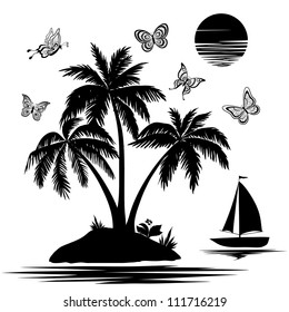 Tropical sea island with palm trees and flowers, ship, butterflies and sun. Set black silhouettes and contours on white background. Vector