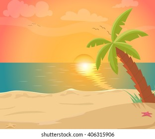 tropical sea island with palm trees and sun