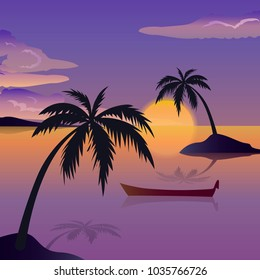 Tropical sea landscape, black silhouettes islands with palm trees , clouds, sky with clouds, sun, wooden boat