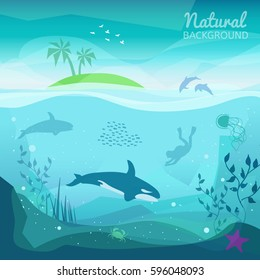 Tropical sea natural background. Landscape of marine life - Island in the ocean and underwater world with different animals. Low polygon style flat illustrations. For web and mobile phone, print.