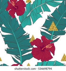 Tropical seamless background with banana leaves. Exotic pattern