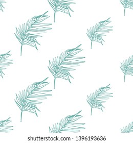 Tropical seamless background with blue palm leaf. Exotic botanical floral illustration. Vector line drawn tropical leaves. Hand drawn contour sketch on white background.