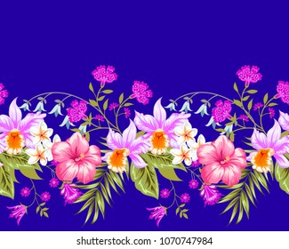 Tropical seamless border with decorative elements and orchids
