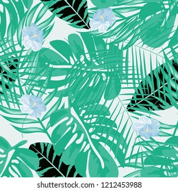 Tropical seamless ethnic pattern with exotic leaves and flowers. Hawaiian floral design. Summer background for cards, invitations, apartments, wallpapers. Vector. illustration. Hibiscus.