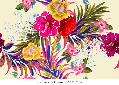 Tropical seamless floral pattern with leaves of palm tree and hibiscus flowers. Horizontal floral background for printing on fabric, clothing, home textiles, wallpaper, gift wrapping.