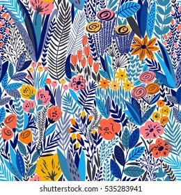 Tropical seamless floral pattern. Vector blue illustration