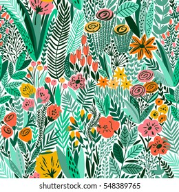 Tropical seamless floral pattern. Vector illustration