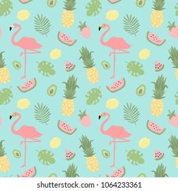 Tropical seamless hand drawn pattern