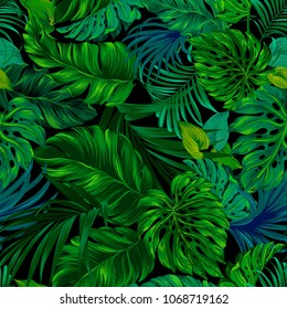 Tropical seamless leafy pattern on black background. Midnight jungle design with beautiful leaves. Dark green palms glowing. Repeating tropical print for fashion, interior, stationery.