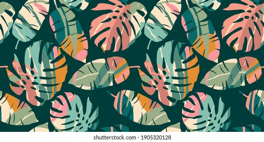 Tropical seamless pattern with abstract leaves. Modern design for paper, cover, fabric, interior decor and other use.