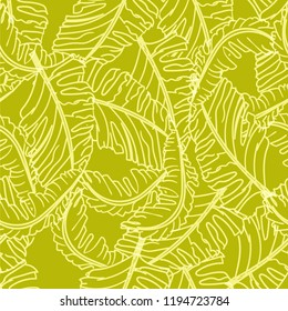 Tropical seamless pattern with banana leaves