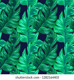 Tropical seamless pattern with banana leaves. Tropical leaves. Turquoise tropical leaves.