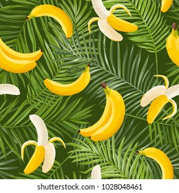 Tropical Seamless Pattern with Banana and Palm Leaves. Summer Floral Exotic Background for Wallpaper, Fabric, Wrapping Paper. Vector illustration