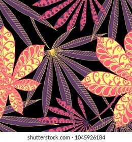 Tropical Seamless Pattern With Big Palm Leaves On Black Background. Hand Drawn Tropic Texture In Zentangle Style. Ornate Seamless Background for Print, Interior, Wallpaper, Swimwear.