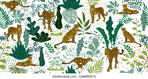 Tropical seamless pattern with Cheetahs and palm leaves. Exotic wildlife art background is tropical trendy. Design for fabric, wrap paper or wallpaper and other decoration.