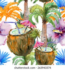 Tropical seamless pattern with coconut cocktail, palm trees and tropical flowers. Watercolor painting. Vector illustration.