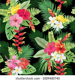 Tropical seamless pattern with colorful hibiscus flowers and bird of paradise on black background. Vector set of exotic tropical garden for wedding invitations, greeting card and fashion design.