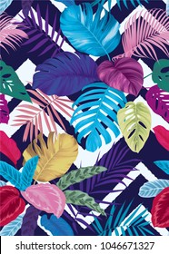 Tropical seamless pattern with colorful palm leaves background. Vector set of exotic tropical garden for holiday invitations, greeting card and fashion design.