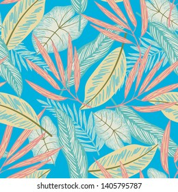 Tropical seamless pattern with colorful plants in yellow tones. Vector design. Jungle print. Floral background.