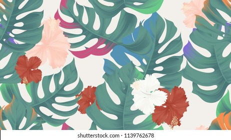 Tropical seamless pattern, colorful split-leaf Philodendron plant and hibiscus flowers on light brown background, pastel vintage style