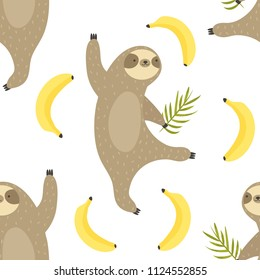 Tropical seamless pattern with dancing sloths and bananas