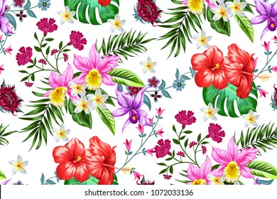 Tropical seamless pattern with decorative elements