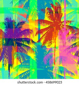tropical seamless pattern depicting pink and purple palm trees with with yellow highlights reflections on a turquoise background in crazy colors