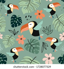 Tropical seamless pattern with exotic design, colorful toucan and palm leaf