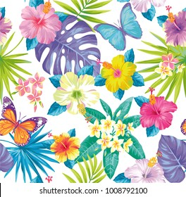 Tropical seamless pattern with exotic flowers, palm leaves and butterflies. Vector illustration.