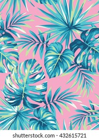 Tropical seamless pattern with exotic palm leaves. Vector illustration.