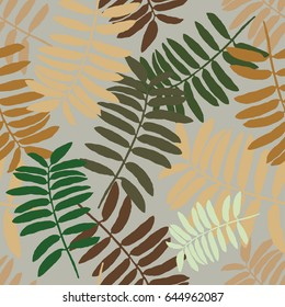 Tropical seamless pattern with exotic palm leaves. Hawaiian style.  Vector illustration.