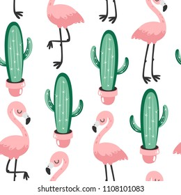 Tropical seamless pattern with flamingos and cactuses. Vector illustration.