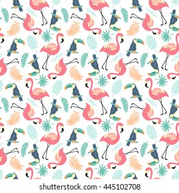 Tropical Seamless pattern with flamingos, toucans and palm leaves, trendy vector illustration