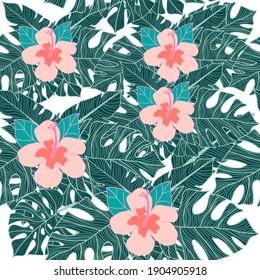 tropical seamless pattern flower leaf vector illustrator