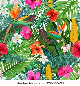 Tropical seamless pattern with flowers hibiscus, plumeria, strelitzia and palm, monstera leaves. Vector illustration. Summer or spring design elements for fashion textile prints and greeting cards.