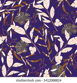 Tropical seamless pattern with flowers and plants on purple background. Vector design. Jungle print. Textiles and printing.