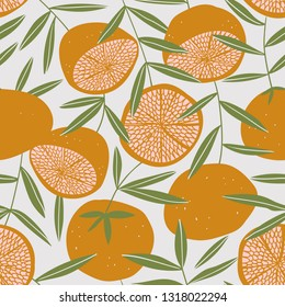 Tropical seamless pattern with grapefruit. Fruit repeated background. Vector bright print for fabric or wallpaper.