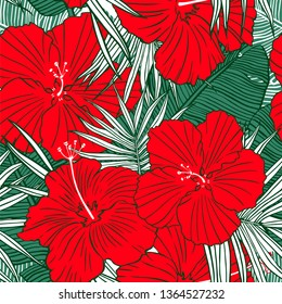 Tropical seamless pattern. Hand drawn texture with palm tree leaf, banana leaves and hibiscus flower. Exotic floral background.