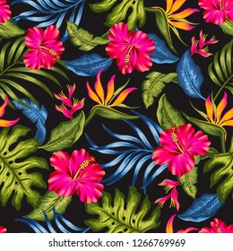 Tropical seamless pattern with hibiscus flower and leaf on black background. editable pattern, palm, bird of paradise