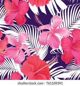 Tropical seamless pattern with hibiscus flower with leaf on purple background. Vector set of exotic tropical garden for wedding invitations, greeting card and fashion design.