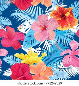 Tropical seamless pattern with hibiscus flower and leaf on blue background. Vector set of exotic tropical garden for wedding invitations, greeting card and fashion design.